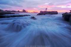 Fishing at Sandy (Jaykhuang) Tags: sandybeach oahu hawaii beach wave water ocean pacificocean fishingman sunrise palmtree jayhuangphotography