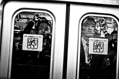 Happy to see me.... (Victor Borst) Tags: streetphotography streetlife reallife real realpeople asia asian asians faces face canon5dmarkii candid canon travel travelling trip tokyo traveling metro subway sub underground urban urbanroots urbanjungle mono monotone monochrome blackandwhite bw japan japanese portrait compressed