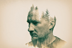 Tree man (mad_airbrush) Tags: 5d 5dmarkiii me man mann face gesicht selbstporträt self selfportrait portrait porträt ich pomp pompadour trees wood forest wald bäume tannen ps psart doubleexposure