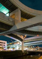Curves of Kurokawa Interchange (黒川インターチェンジ) (christinayan01) Tags: elevated expressways interchange overpass bridge road nagoya night