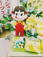 Peko Chan loves Lemon Cakes (Japanese Fujiya Mascot) (The Hungry World Citizen) Tags: pekochan mascot girl cute kawaii fujiya cakes sweets