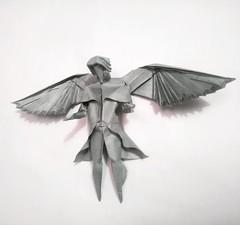 Angel 2017 plegado en papel elephant hide de 50x50 cm con acabados en humedo. (Alexander Oliveros) Tags: origami origaminutos paperfolding paperart angel