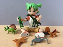 Yotsuba & Dinosaurs (Sasha's Lab) Tags: yotsuba koiwai よつば kawaii girl child play toy dinosaur thunder lizard brontosaurus trex tyrannosaurus manga cute revoltech action figure
