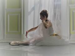 "Contemplation (Say ""Wasabi"") Tags: ballet dancer light olympus m43 mzuiko40150 em1ii reflection yellow dress dancing resting white thinking contemplation dance window"