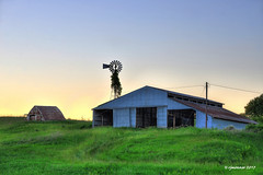 Y31 Sunset Windmill_175460 (rjmonner) Tags: windmillwednesday windmill iowa midwest rural country hdr barn sunset agriculture farmstead dilapidated green grasses grass unused abandoned shed jacksoncounty machineshed storage empty rusted cornbelt wired pasture