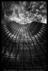 Cloud Modifier (reassembling.visions) Tags: milvus1450 frankfurtammain architecture nikond800 carlzeiss manualfocus manuallens summer skyscraper darktable франкфуртнамайне repeatingpatterns abstract reflection clouds blackandwhite
