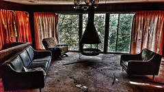 that summer place... (BillsExplorations) Tags: abandoned abandonedhouse lake decay forgotten shuttered lakeoftheozarks cove summer missouri chairs fireplace lonely oncewashome 1980s buried quiet old vintage retro haunted