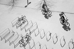 ...we are floating in space (marktmcn) Tags: london park olympic shadows shadow reflection illusion cycle stands bicycle bicycles two cyclists from above blackandwhite monochrome d610 nikkor