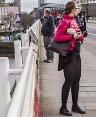 (Puffyjacketlove) Tags: unitedkingdom london bridge waterloobridge girl candid upskirt skirt woman female babe camera glasses canon5dii canon24105mmf4lisusm windblownskirt leggings legs thighs tights