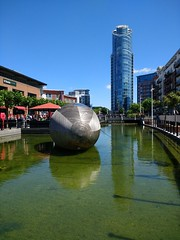 Exbury Egg - Stephen Turner (curly_em) Tags: artist stephenturner exburyegg wood wooden pattern water bluesky green portsmouth hampshire reflections reflection gunwharfquays