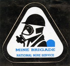 Mine Brigade sticker (Coalminer5) Tags: coalmining coalminer coalmemorabilia coalcollectibles coal mining miningmemorabilia miningcollectible miningartifacts decal drager draeger dragerman draegerman sticker minerescue minerescuecontest minerescuecompetition smokeeaters smokeeater nationalmineservice nms minebrigade