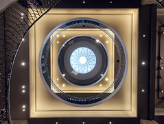 Fortnum Dome (Pat Charles) Tags: dome architecture architectural interior inside indoor decoration decor stairs ceiling city urban exploration symmetry layers square circle geometry shapes rail lights lookingup lookup nikon