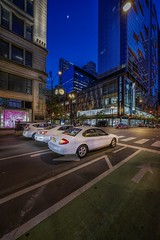 Three white cars (karinavera) Tags: travel sonya7r2 chicago aerial view cityscape architecture city night street streetview voightlander12mm cars cinematic
