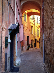 narrow street (fotomie2009) Tags: porto maurizio imperia caruggio carrugio vicolo medieval medioevale medievale centro storico parasio street lamp lampione arch archi