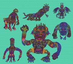 Wurkenko and Co. (Moleman9000) Tags: moleman9000 moleman molemanninethousand navaverse nava–verse fantasy mythos oc character characters original fiction mythology alien aliens monster monsters bestiary species lore worldbuilding animal animals fauna creature creatures demon bizarre deviantart extraterrestrial giant kaiju avian slug cold cute