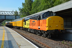 37254 Stafford 17/06/2017 (Brad Joyce 37) Tags: 37254 class37 colas stafford testtrain sunshine bluesky nikon d7100 train orange yellow locomotive slamdoor networkrail staffordshire station wcml westcoastmainline