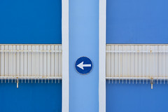 Four shades of blue (on Explore) (Jan van der Wolf) Tags: map168297vvve sign trafficsign verkeersbord blue gebouw lines blauw grancanaria arinaga shades dissymmetry geometric