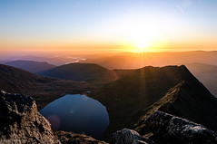 Helvellyn Striding Edge Sunrise (Robert Michael Parker) Tags: thirlmere england unitedkingdom canon 6d tamron 2470 lake district mountain landscape sunrise climb hike walk steep early start orange purple dawn edge striding red tarn rocks hdr 7 frames