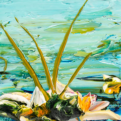 JUSTIN GAFFREY LP12X12-2017-125 (Justin Gaffrey) Tags: waterscape art painting acrylicpaint lake reeds waterlillies lilliepads pond water green aqua blue 12x12 30a sowal artist florida floridaartist justingaffrey