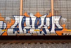 GASP (TheGraffitiHunters) Tags: graffiti graff spray paint street art colorful freight train tracks rolling canvas painted steeel autoracks racks gasp ribbet