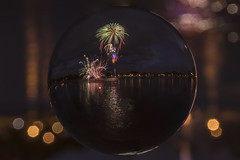 Canada Day Fireworks at Little Lake 2 (superdavebrem77) Tags: canadaday littlelake refraction fireworks night lowlight 150 peterborough bokeh crystalball