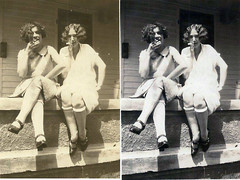 Teenagers Smoking, Before and After (kevin63) Tags: lightner photoshop retro retouched restored old vintage antique photo portrait women girl 20thcentury 20s 1920s youngwoman smoking rolledstockings frontporch bobbedhair marcelwave posed