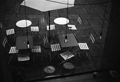 Three Lights Ferrania P30 pyrocat_HD (Man with Red Eyes) Tags: meta35 3 threeofakind bulbs electricity haninging coffeeshop atkinsons musicroom ferrania p30 p30alpha nikonf6 50mmf12 pyrocathd 11100 15mins semistand presoak analog blackwhite monochrome analogue silverhalide homedeveloped v850 lancaster lancashire northwest 35mm film filmtest filmisnotdead filmtilidie bnw