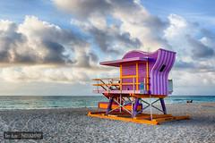 Miami Art Deco Beach (Tim Azar) Tags: canon6d florida hdr landscape lifeguardtower miami miamibeach southbeach timazar architecture beach clouds cloudy ocean orange sand shoreline sunrise water waves yellow