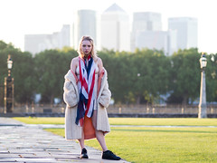 City Girl (mayflys_reach) Tags: helen helenx availablelight beauty blond england fashion girl glamour greenwich garden london canarywharf unionjack naturallight olympus omdem1mk2 portrait people woman purpleport