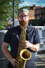 Alex on the Sax (tim.perdue) Tags: comfest 2017 summer community festival goodale park short north columbus ohio wish you jazz stage new basics brass band nbbb group ensemble performance live concert alex sax tenor saxophone woodwind instrument musical music musician bandana glasses beard