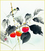 Japanese-lantern and tit (Japanese Flower and Bird Art) Tags: flower japaneselantern physalis alkekengi solanaceae bird tit paridae isao akita nihonga shikishi japan japanese art readercollection