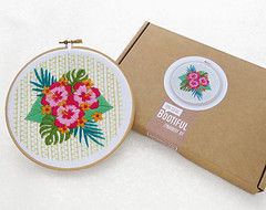 Modern Embroidery Kit, Hibiscus Needlework Kit, Tropical Flowers Hoop Art Kit, Summer Needle Craft Kit, Floral Hand Embroidery Project by OhSewBootiful (ohsewbootiful) Tags: embroidery etsy etsyuk gifts giftsforher homedecor hoopart fiberart handembroidery handmade etsyseller embroideryhoop shophandmade handmadegifts decor wallhanging bestofetsy