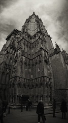York Minster, vertical panorama. (chinese johnny) Tags: york england uk greatbritain 2013 iphone iphoneonly instagram iphone5c squareformat square bw blackandwhite monochrome moody melancholy winter streetphotography documentaryphotography documentary ambient reallifenotposed oldeurope vscocam vsco m flickrunitedaward