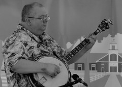 Doug Knecht, w/ Ashley Lewis, SJF. (EOS) (Mega-Magpie) Tags: canon eos 60d outdoors people person guy man dude live bluegrass music st james farm warrenville dupage il illinois usa america bw mono black white monochrome banjo doug knecht