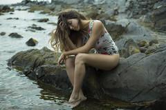 Lost in the sea (GretaLarosa) Tags: mare tramonto oceano estate freddo ragazza modella vento capelli costume romantico fineart emotivo emozioni genova dark
