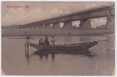 PCIS059 Railway Bridge, Agra (elliedownes) Tags: riverscene boat bridge blackwhite