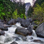 An Early Morning View up the Merced River with Liberty Cap off in the Distance (HDR, Yosemite National Park) thumbnail