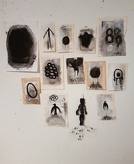 current studio wall (Ines Seidel) Tags: drawings paintings collection arrangement black bookpages story storytelling bird wing root egg zeichnungen