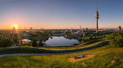 What a beautiful sunset (martin.matte) Tags: münchen germany deutschland sunset landscape architecture cityscape city travel warm urban olympiapark panorama sunstar sky clear