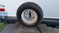 Tire cover off (JD and Beastlet) Tags: camper travel trailer rv 2012 rockwood 2701ss slide 32 foot recreational vehicle camping camp campering family vacation together bonding nature mod modification bumper reinforcement support mountnlock 4square safetystruts
