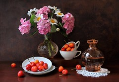 Part of Sweet Things (Esther Spektor - Thanks for 12+millions views..) Tags: stilllife naturemorte bodegon naturezamorta stilleben naturamorta composition creativephotography arrangement artisticphoto summer tabletop flowers bouquet daisy hydrangea cherry food vase cup decanter wine saucer doily glass porcelain availablelight reflection white pink green red orange peach brown estherspektor canon