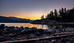 Rugged West Coast (Christie : Colour & Light Collection) Tags: bc park ocean whytecliffpark northvancouver vancouver shore oceanside oceanfront sunset westcoastcanada canada evening sundown logs rocks cliff trees