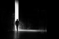 Into the light (Daz Smith) Tags: dazsmith fujixt20 fuji xt20 andwhite bath city streetphotography people candid citylife thecity urban streets uk monochrome blancoynegro blackandwhite mono man walking tunnel white light graffiti shadows dark black