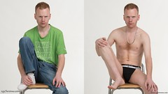 Ashley (xychrome.com) Tags: male man guy dude youth model pose photoshoot dressed undressed clothed unclothed strip studio shirtless topless asdrumark underwear jockstrap jeans tshirt fit body physique sit sitting chest nipple foot feet ginger