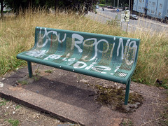 bench of death (chrisinplymouth) Tags: seat bench seating public graffiti scrawl plymouth devon england uk cw69x plymgrp park stm