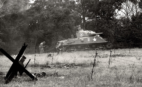 Sherman tank approaching