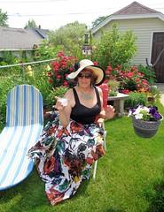 Cheers! (Laurette Victoria) Tags: garden milwaukee hat auburn skirt laurette woman