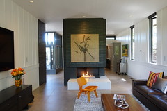 Living Room w/ Fireplace Room Divider (Heath & the B.L.T. boys) Tags: livingroom fireplace art orange chair couch tv rug