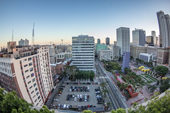 downtown Los Angeles (mvttbrown) Tags: losangeles la city cityscape downtown buildings dtla story highrise architecture horizons dusk fisheye wide angle wideangle canon canoneos canoneos600d landscape streetphotography california citystreets bigcity skyline