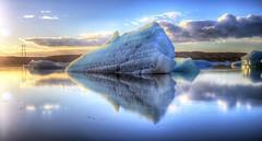 Large ice deposit at Jökulsárlón - Glacier Lagoon (BitRogue) Tags: nikon d800 iceland winter capturenx2 ice iceberg 50mm jökulsárlón glacier lagoon sunrise frozen still calm